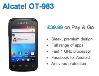 Alcatel OT 983  O2 PAYG    40 delivered   O2   Mobile Deals   Mobot