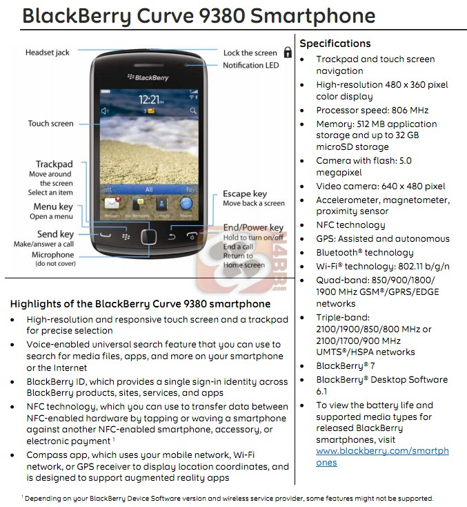 BlackBerry Curve 9380 Comparison Chart  Full Specifications Sheet