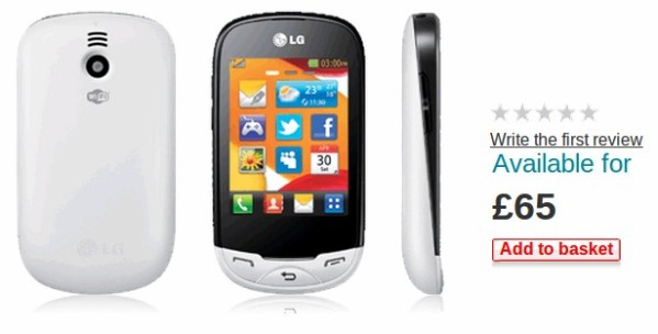 LG Ego Wi Fi is a touchscreen featurephone  yours for   65 on PAYG