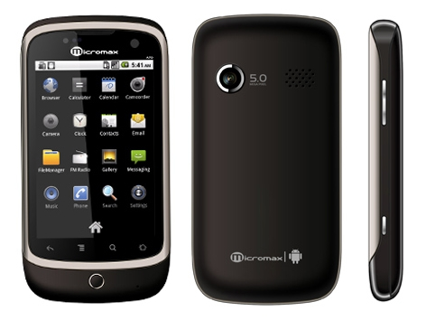 Micromax A70     Budget Android phone with 3G video calling