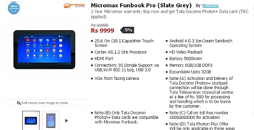 Micromax Funbook Pro up for grabs online at Rs  9 999   Tablets