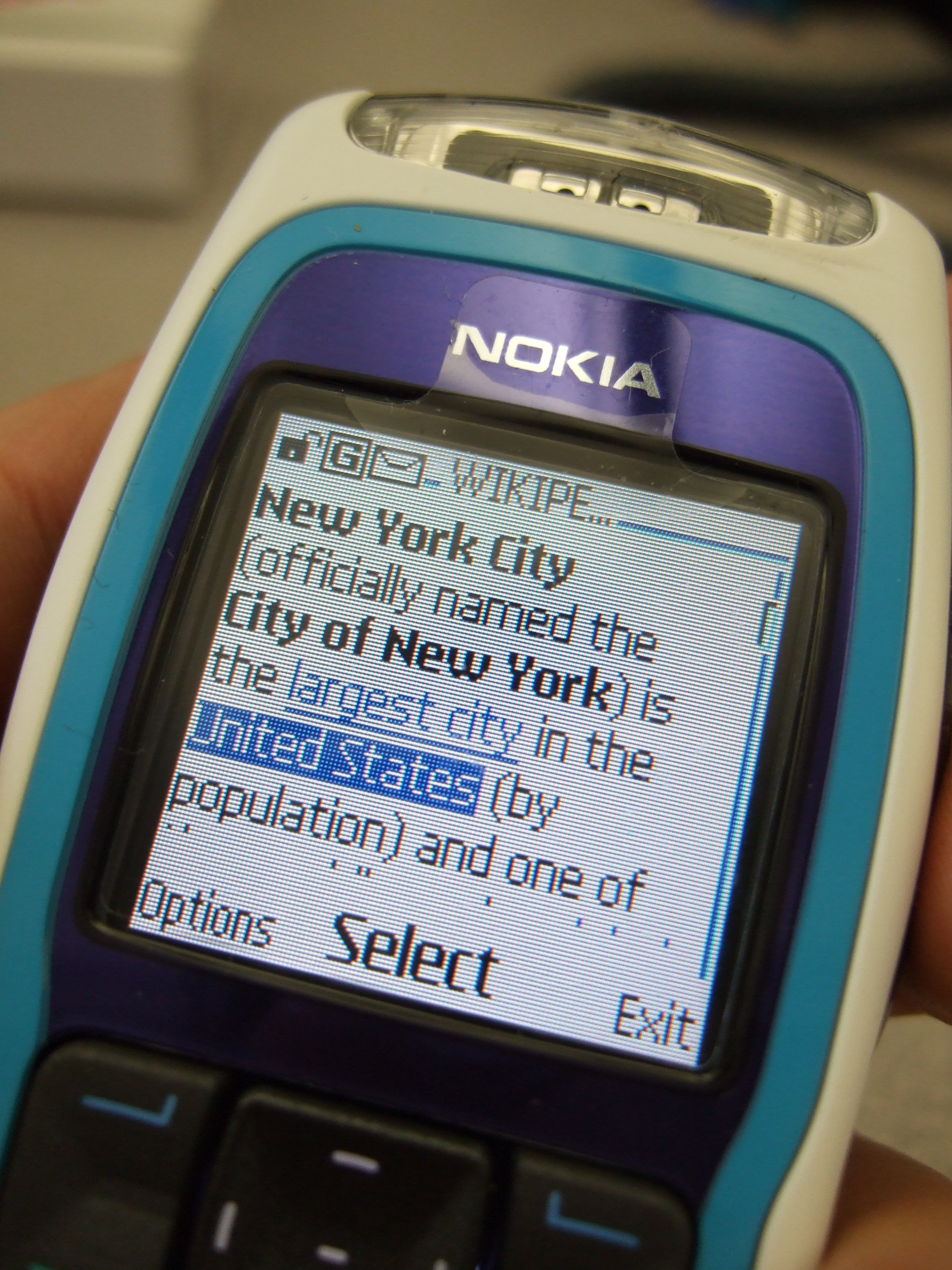 File Nokia 3220   Mobile version of wikipedia jpg   Wikimedia Commons