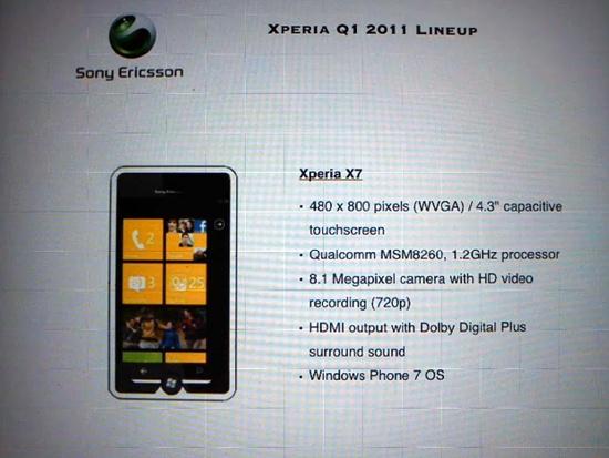 Sony Ericsson Leaks Xperia X7  X7 Mini for Windows Phone 7