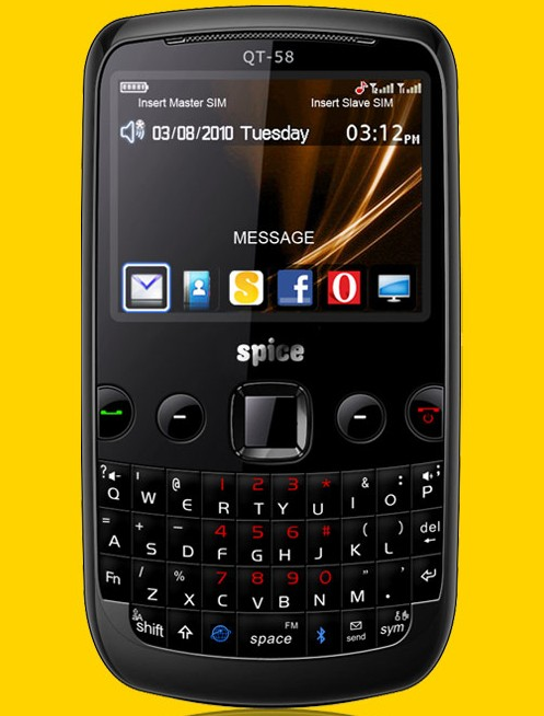 Spice QT 58 Price   Spice QT58 Dual SIM GSM QWERTY mobile phone